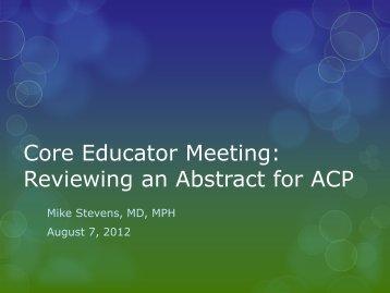 VA ACP Associates Meeting 2013: Reviewing an Abstract