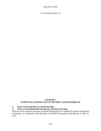 Report of the Ad Interim Committee on Divorce and Remarriage
