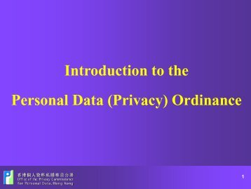Personal Data (Privacy) (Amendment) Ordinance - Office of the ...