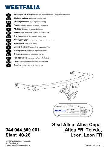 Seat Altea, Altea Copa, 344 044 600 001 Altea FR ... - Westfalia