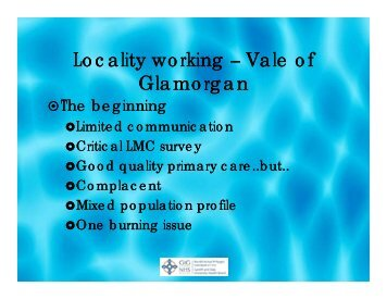 Vale of Glamorgan Locality working – Vale of Glamorgan
