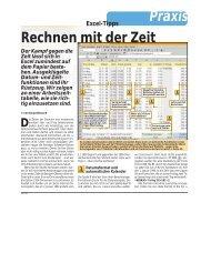 PCtip 4/99 - Praxis, Excel, Rechnen mit der Zeit ... - informatik-aktuell