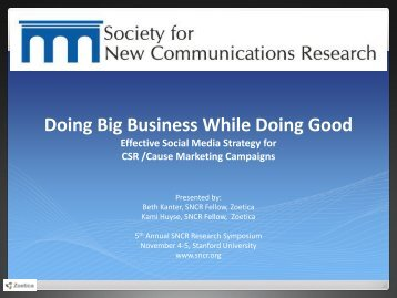 Doing Big Business While Doing Good - Society for New ...