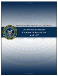 2015-4-21 Annual Report on Security Clearance Determinations