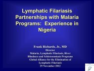A partnership with the malaria progammes - Global Alliance to ...