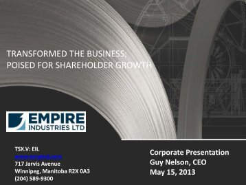 May 2013 Corporate Presentation - Empire Industries