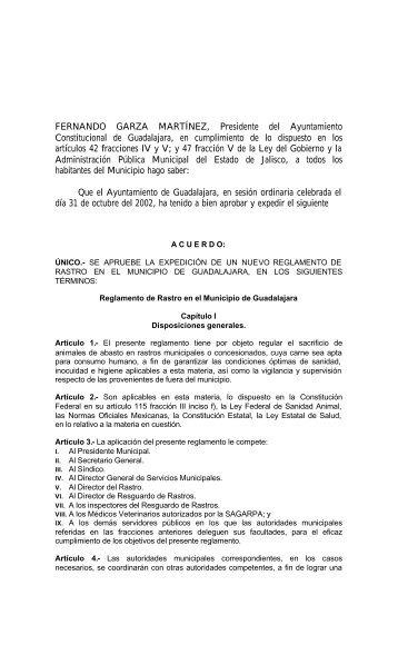 Reglamento de Rastro en el Municipio de Guadalajara