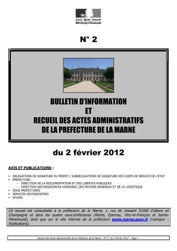 Recueil 2-2012 du 2 février (page 1 à 46) - Préfecture de la Marne