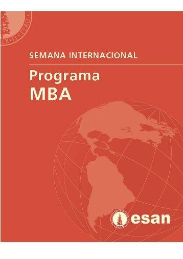 Semana Internacional, Programa MBA, ESAN - Universidad ...