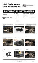 High Performance Cold Air Intake Kit INSTALLATION INSTRUCTIONS