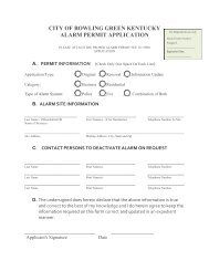Alarm Permit Application - City of Bowling Green, KY