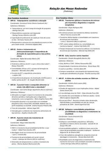 Relação das Mesas Redondas - XXXI Congresso Brasileiro de ...