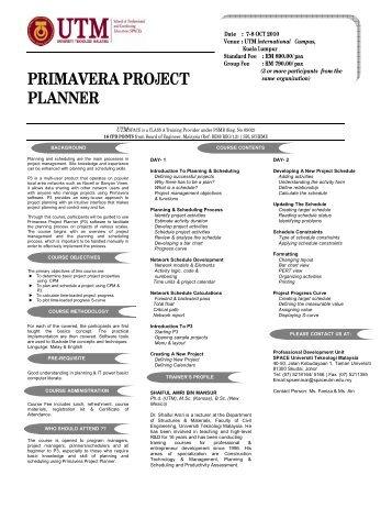 PRIMAVERA PROJECT PLANNER - UTM SPACE