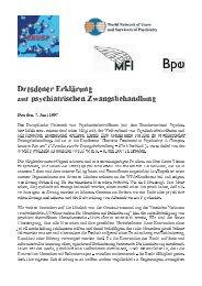 Dresdener Erklärung zur psychiatrischen Zwangsbehandlung