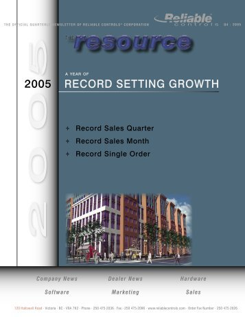 A Year of Record Setting Growth - Reliable Controls