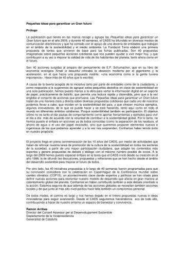 Perqueñas ideas para garantizar un Gran futuro - Generalitat de ...