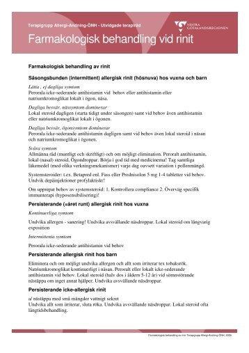 Farmakologisk behandling vid rinit - Vgregion.se