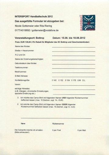 Anmeldung Intersport Handball Camp 2012 - beim SC Bottrop eV