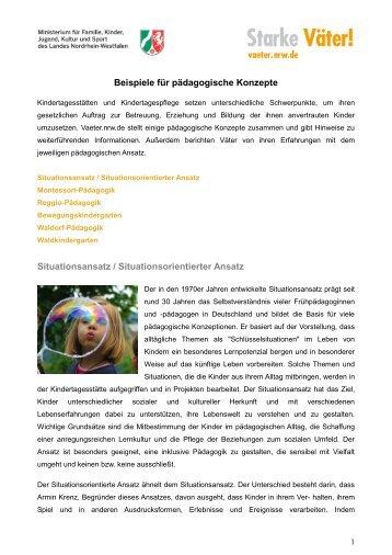 Beispiele für pädagogische Konzepte Situationsansatz ...