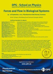 DPG - School on Physics Forces and Flow in Biological Systems