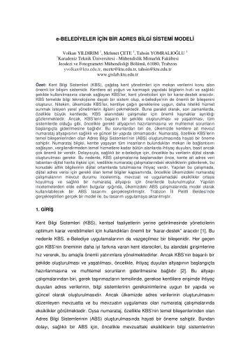 e-BELEDİYELER İÇİN BİR ADRES BİLGİ SİSTEMİ MODELİ - Gislab