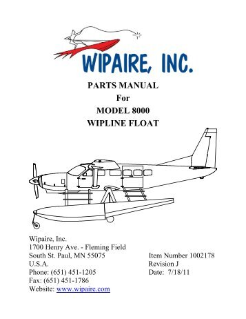 PARTS MANUAL For MODEL 8000 WIPLINE FLOAT - Wipaire Inc.