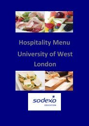 hospitality menu (pdf, 380 kb) - University of West London