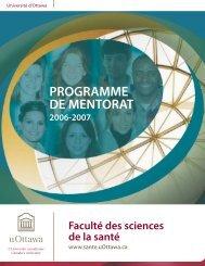 PROGRAMME DE MENTORAT - Faculté des sciences de la santé