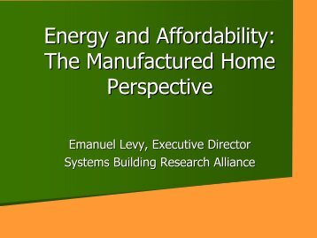 Energy and Affordability: The Manufactured Home Perspective