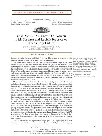 Case 2-2012: A 63-Year-Old Woman with Dyspnea and Rapidly ...