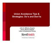 Union Avoidance Tips & Strategies: Do's and Don'ts - Reed Smith