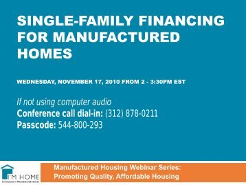Single-family Financing for Manufactured Homes Wednesday - CFED