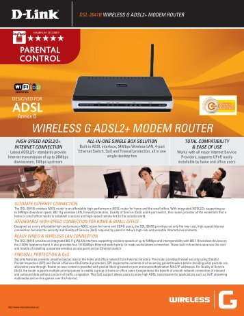 WIRELESS G ADSL2+ MODEM ROUTER - Mercado Actual