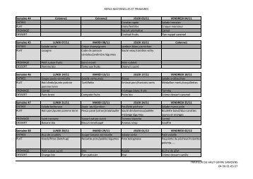 REPAS MATERNELLES ET PRIMAIRES Semaine 44 ... - Verchaix