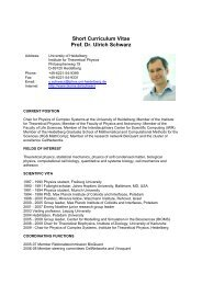 Short Curriculum Vitae Prof. Dr. Ulrich Schwarz - CellNetworks