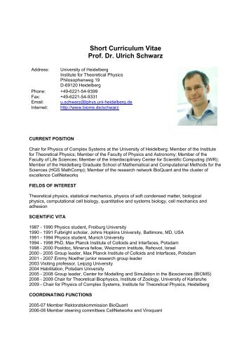 Short Curriculum Vitae Prof. Dr. Ulrich Schwarz - CellNetworks
