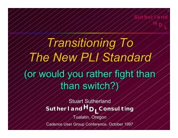 Transitioning to the New PLI Standard - Sutherland HDL