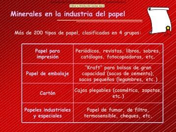 Minerales en el papel.