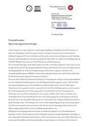 Presseinformation Sparen mit regenerativer Energie