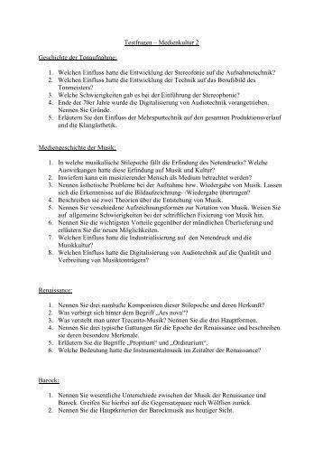 Testfragen – Medienkultur 2 Geschichte der Tonaufnahme: 1 ...