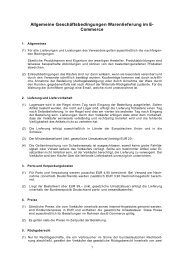 Allgemeine Geschäftsbedingungen Warenlieferung im E- Commerce