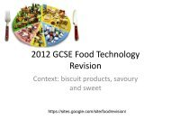 2012 GCSE Food Technology Revision