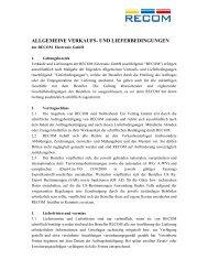 allgemeine verkaufs- und lieferbedingungen - Recom International ...