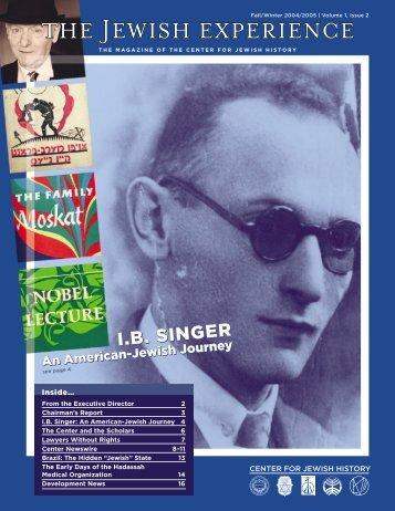 ib singer ib singer ib singer ib singer ib singer - Center for Jewish ...
