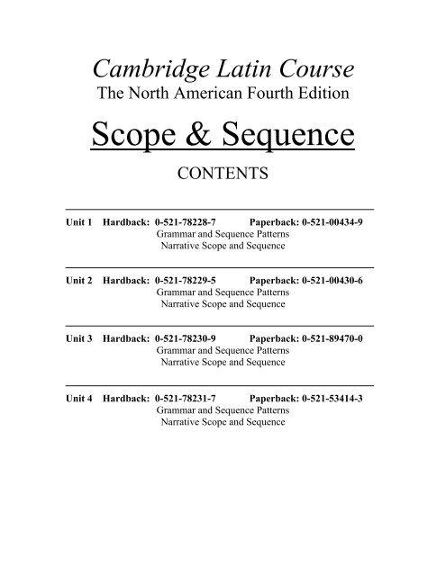 Scope Sequence Cambridge Education Cambridge