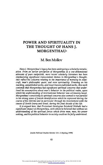 power and spirituality in the thought of hans j. morgenthau