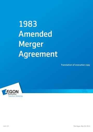 1983 Amended Merger Agreement - Aegon