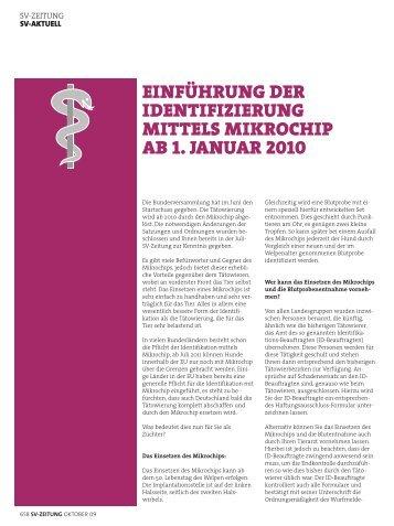 einführung der identifizierung mittels mikrochip ab 1. januar 2010