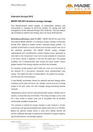 Intersolar Europe 2012 MAGE SOLAR introduces energy manager