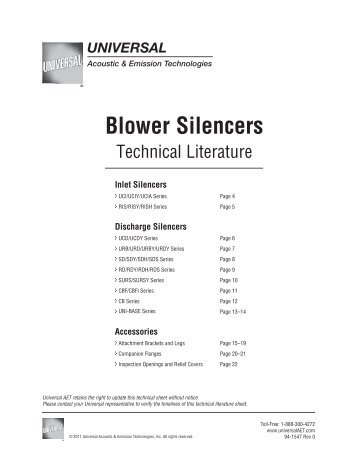 Blower Silencers - Technical Literature - Universal: Acoustic Silencers